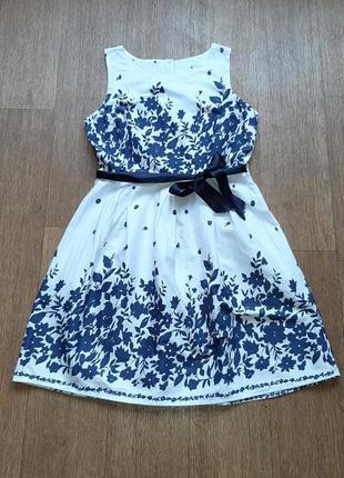 """Платье нарядное хлопковое с рисунком """"цветы"""""""