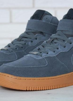 Зимние кроссовки nike air force grey gum мехом, мужские кроссовки