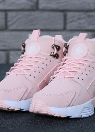 Зимние кроссовки nike huarache x acronym city winter pink с мехом