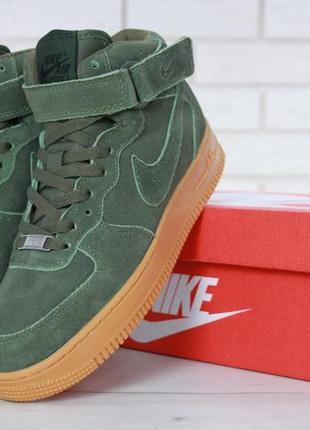 Зимние кроссовки nike air force green с мехом, мужские кроссовки
