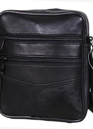 Кожаная сумка мужская через плечо барсетка из кожи черная кожа...
