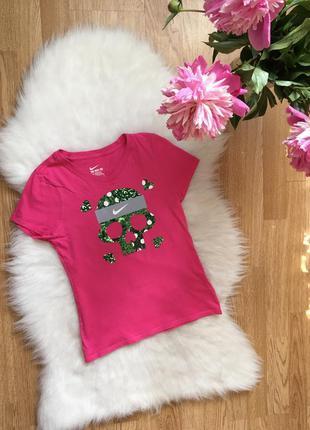Хлопковая розовая футболка найк оригинал,футболка с принтом че...