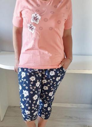 Домашний трикотаж костюм футболка и бриджи.пижама батал футбол...