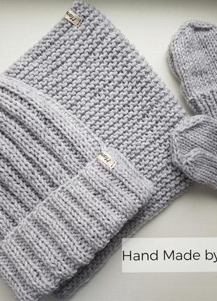 Hand made шапка для девочки варежки детские