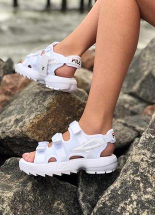 Женские летние босоножки fila white ◈ сандалии белого цвета😍