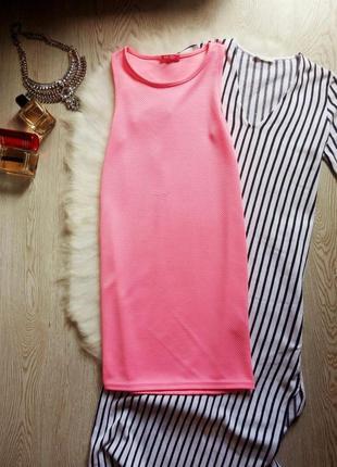 Яркое неоновое розовое короткое платье майка мини летнее цветн...