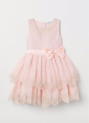 Платье для девочки розовое с золотом 128 см 7-8 лет н&м