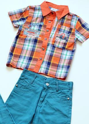 Рубашка лето мальчик клетка 4 - 5лет, 110 рост