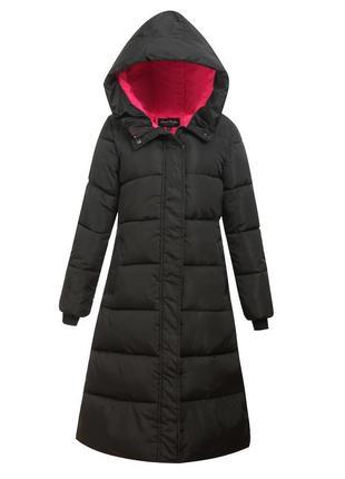 Черная зимняя длинная приталенная парка, длинное пальто, пухов...