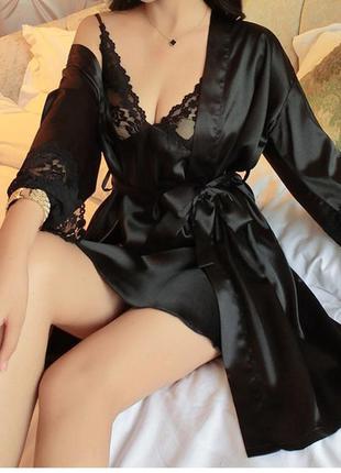 Атласный халат и сорочка, халат и пеньюар xs