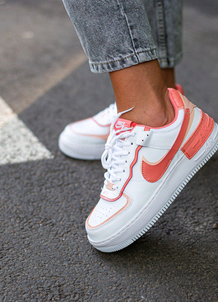 Кроссовки Nike Air Force Shadow White\Coral
