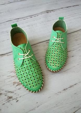 Кожаные кроссовки/макасины женские