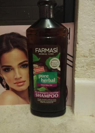 Травяной шампунь для сухих и крашеных волос pure herbal farmas...