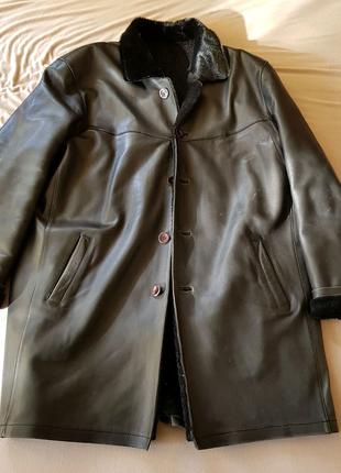 Зимняя кожаная мужская куртка на меху