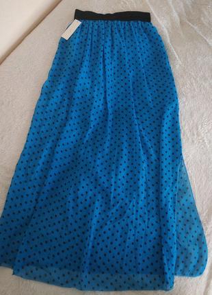 Длинная  летняя юбка  с разрезом.