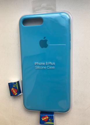 Чехол Силиконовый Для IPhone/Айфон 7 Plus / 8 Plus  ярко голубой