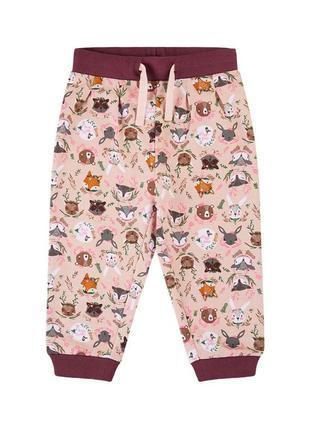 Трикотажные брюки для девочки цвет розовый