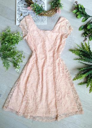 Платье мини кружевное бежевое нарядное актуальное летнее