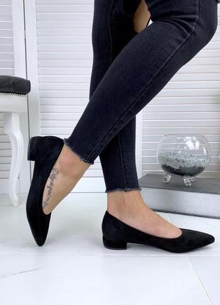 Черные туфли на маленьком каблуке, туфли-балетки 36,37,39р