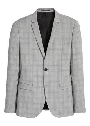 Серый пиджак h&m в клетку , skinny fit !