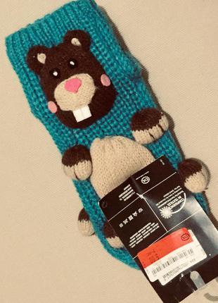 Бирюзовые вязаные носки новогодние носки