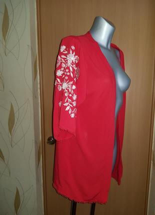 Красная пляжная накидка кардиган  кимоно с вышивкой