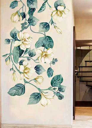 Интерьерная наклейка на стену обои Жёлтые цветы наліпка