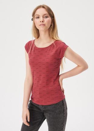 Новая облегающая бордовая футболка темно-красная sinsay принт ...