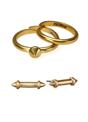 Набор: два колечка и серьги гвоздики позолота pilgrim дания