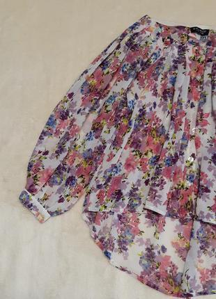Шифоновая свободного стиля рубашка широкий объёмный рукав разм...