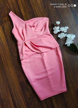 Платье миди. платье на одно плечо
