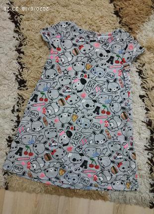 Фирменное летнее платье с ярким принтом h&m 4-6 лет