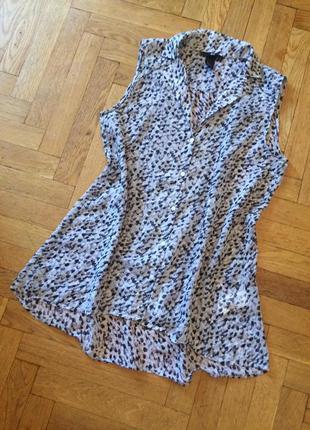 Летняя,шифоновая блузка,рубашка без рукавов, свободного кроя,о...