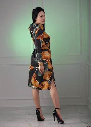 ❤ женское платье шелк цветы желтые, с поясом ❤