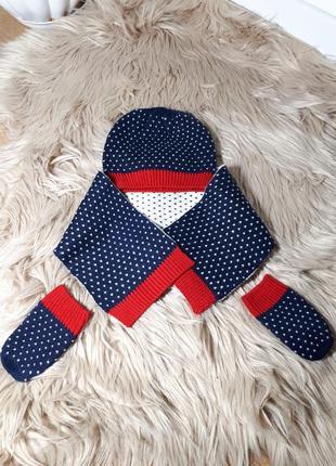 Весенний комплект шапочка, шарф и руковички marks spencer