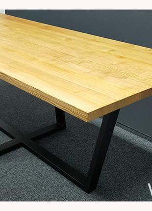 ШИКАРНЫЙ! Стол лофт V-85. 2200*1000, ясень 40мм. Мебель лофт.