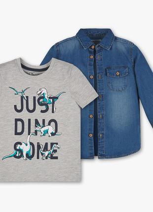 Джинсовая рубашка palomino с футболкой динозавры