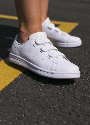 Кроссовки кеды adidas stan smithна липучках в белом цвете кожа...