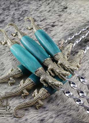 """Подарочный набор шампуров с деревянными ручками """"Крокодилы"""""""