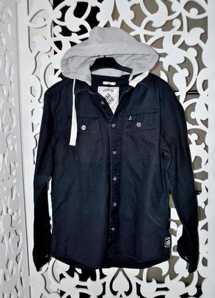 Куртка мужская l анорак бренд criminal джинсовая с капюшоном о...