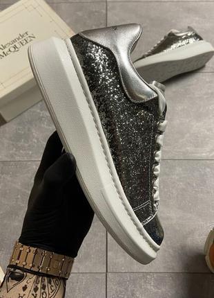 "Alexander mcqueen silver ""leather trimmed glitter"" (серебро се..."