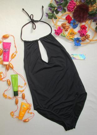 Шикарный стильный сдельный слитный чёрный купальник открытая с...
