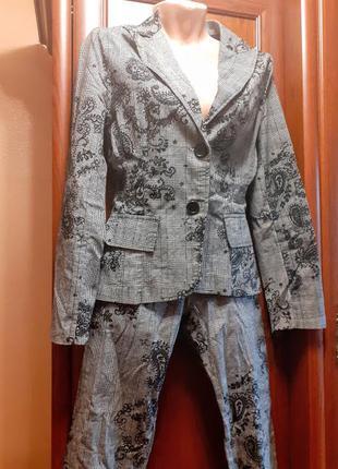 Брючный стрейчевый костюм в клетку клетчатый bizzarro стрейч г...