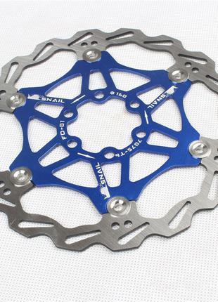 Ротора Вело тормозные диски Snail 160 синие комплект
