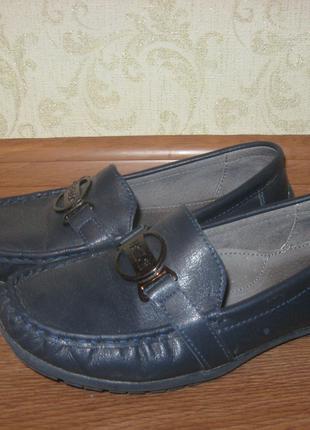 Кожаные темно-синие туфли для мальчика