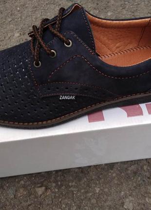 Туфли кожаные перфорация мужские zangak на шнурках