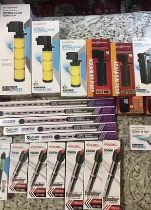 Фільтр, компресор, обігрівач, лед лампи для акваріумів