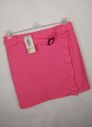 Юбка мини новая розовая итальянская по фигуре uk 14/42/l