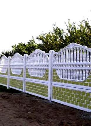 Еврозабор. Ограждение. Бетонный забор. Ворота калитки.