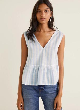 Блуза с воланами в горизонтальную полоску